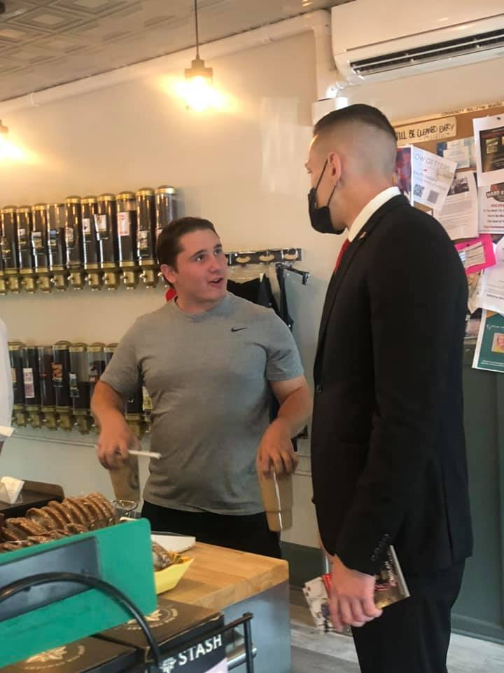James Nolan talks with a constituent at Slave to the Grind